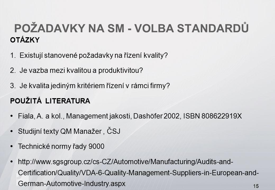 POŽADAVKY NA SM - VOLBA STANDARDŮ OTÁZKY 1.Existují stanovené požadavky na řízení kvality? 2.Je vazba mezi kvalitou a produktivitou? 3.Je kvalita jedi