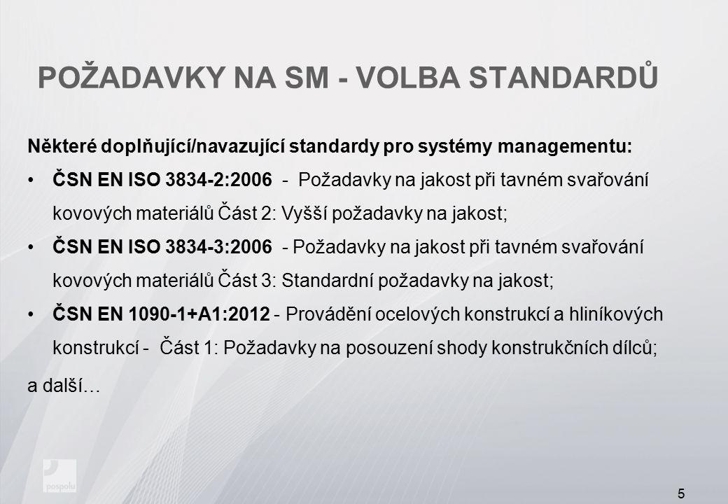POŽADAVKY NA SM - VOLBA STANDARDŮ Některé doplňující/navazující standardy pro systémy managementu: ČSN EN ISO 3834-2:2006 - Požadavky na jakost při ta