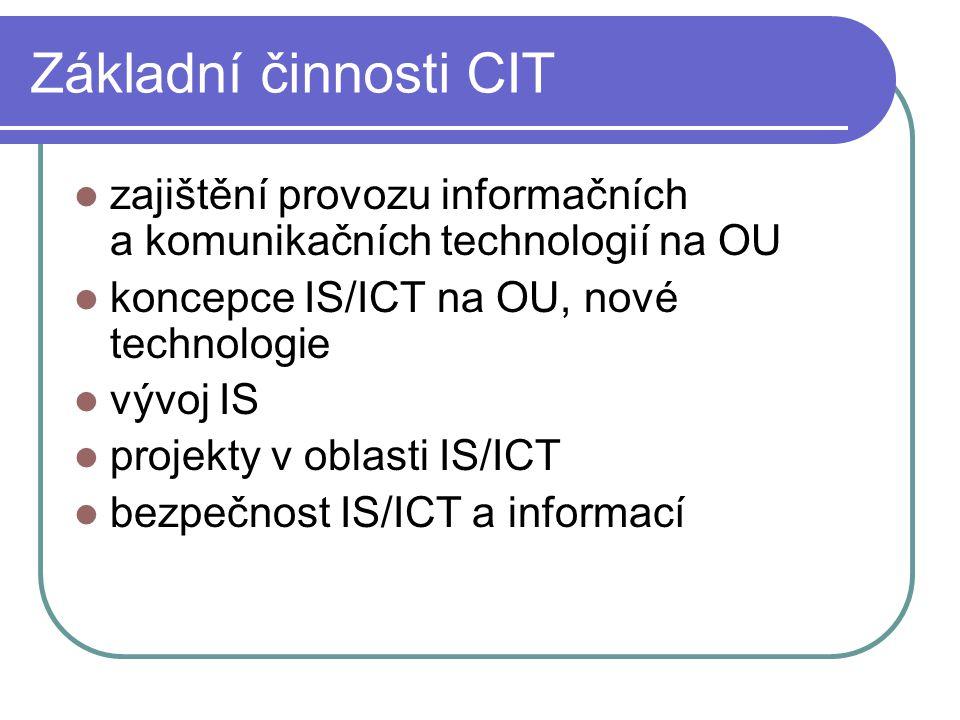 Provoz IT na OU správa uživatelů - 519 učitelů a 7777 studentů správa 33 IS správa 35 serverů, 20 serveroven správa 2500 síťových přípojných portů RJ45 11 km tras s optickými kabely, metalické trasy 4 mikrovlné spoje správa přes 1000 PC, 400 tiskáren 700 tel.