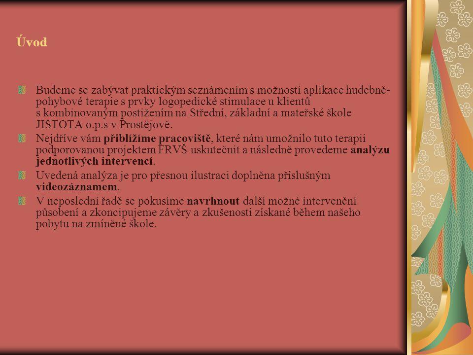 Úvod Budeme se zabývat praktickým seznámením s možností aplikace hudebně- pohybové terapie s prvky logopedické stimulace u klientů s kombinovaným postižením na Střední, základní a mateřské škole JISTOTA o.p.s v Prostějově.