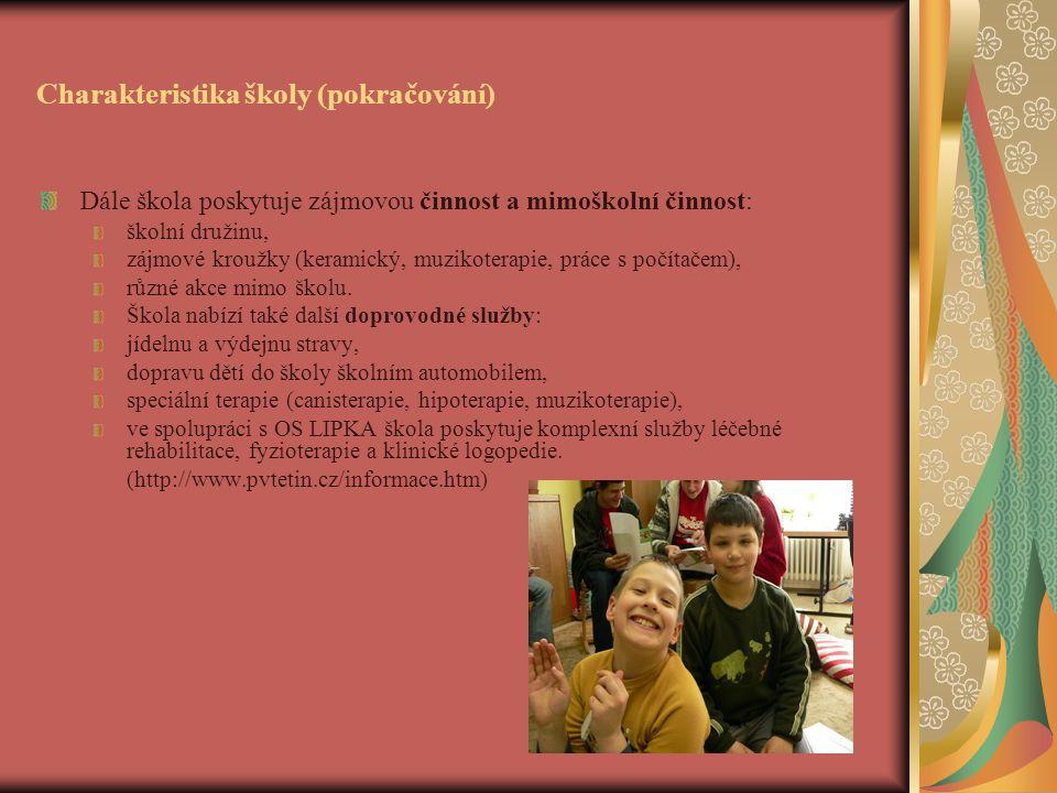 Charakteristika školy (pokračování) Dále škola poskytuje zájmovou činnost a mimoškolní činnost: školní družinu, zájmové kroužky (keramický, muzikoterapie, práce s počítačem), různé akce mimo školu.