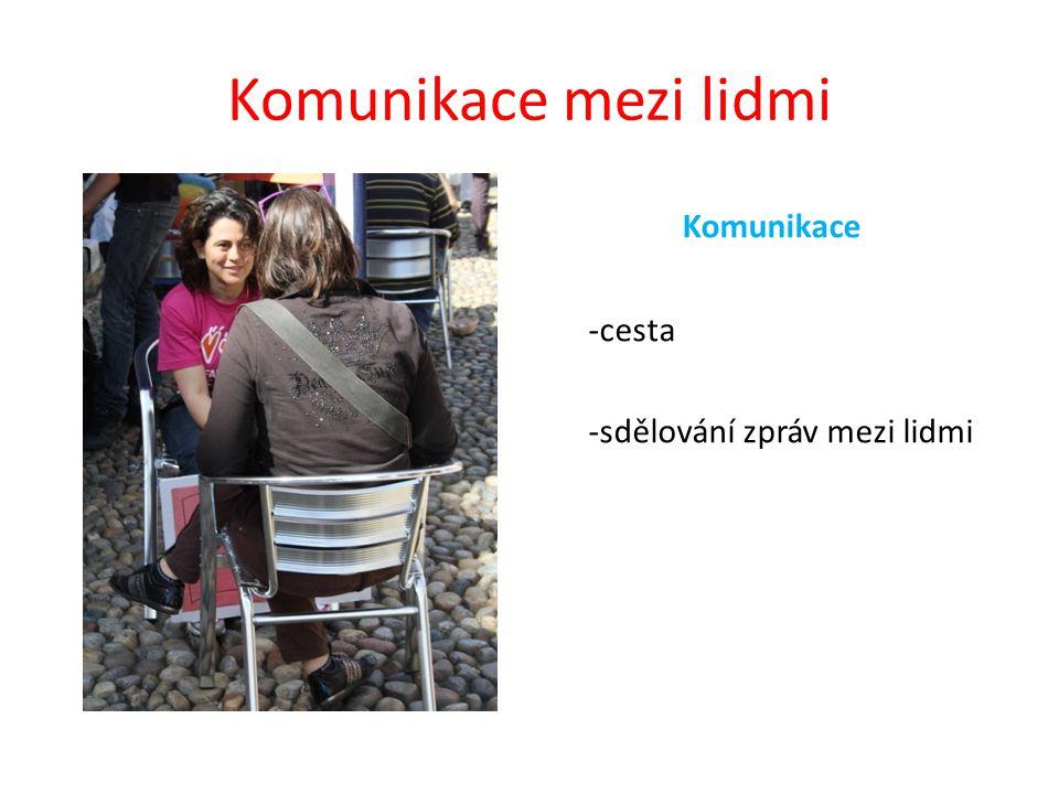 Komunikace mezi lidmi Komunikace -cesta -sdělování zpráv mezi lidmi