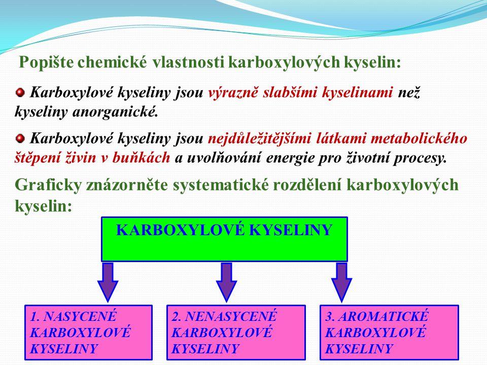 Popište chemické vlastnosti karboxylových kyselin: Karboxylové kyseliny jsou výrazně slabšími kyselinami než kyseliny anorganické.