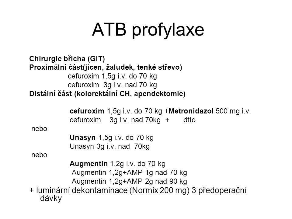 ATB profylaxe Chirurgie břicha (GIT) Proximální část(jícen, žaludek, tenké střevo) cefuroxim 1,5g i.v. do 70 kg cefuroxim 3g i.v. nad 70 kg Distální č