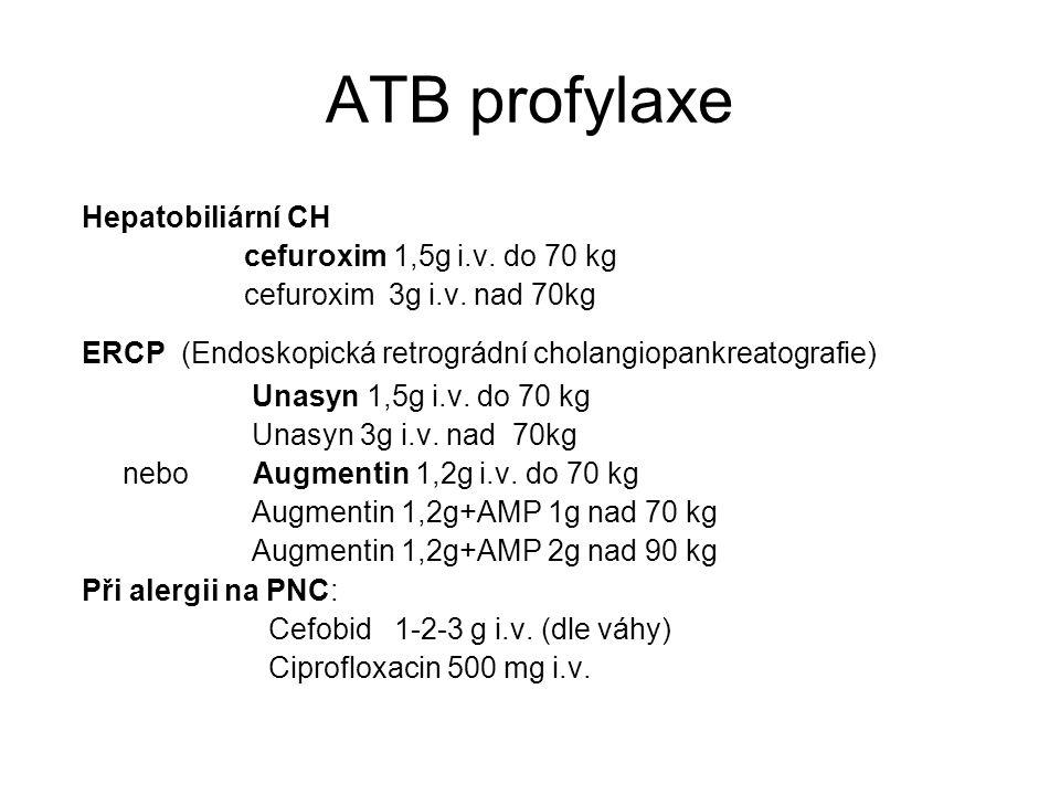 ATB profylaxe Hepatobiliární CH cefuroxim 1,5g i.v. do 70 kg cefuroxim 3g i.v. nad 70kg ERCP (Endoskopická retrográdní cholangiopankreatografie) Unasy