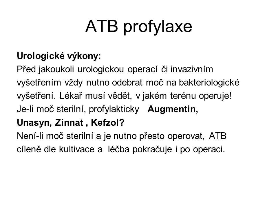 ATB profylaxe Urologické výkony: Před jakoukoli urologickou operací či invazivním vyšetřením vždy nutno odebrat moč na bakteriologické vyšetření. Léka
