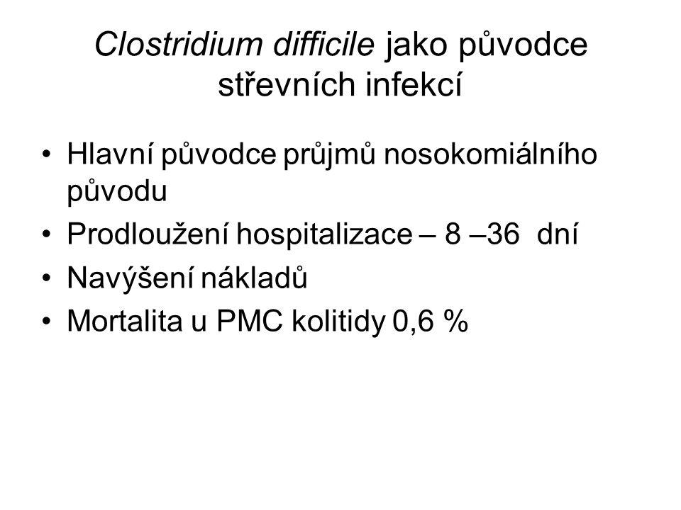 Clostridium difficile jako původce střevních infekcí Hlavní původce průjmů nosokomiálního původu Prodloužení hospitalizace – 8 –36 dní Navýšení náklad