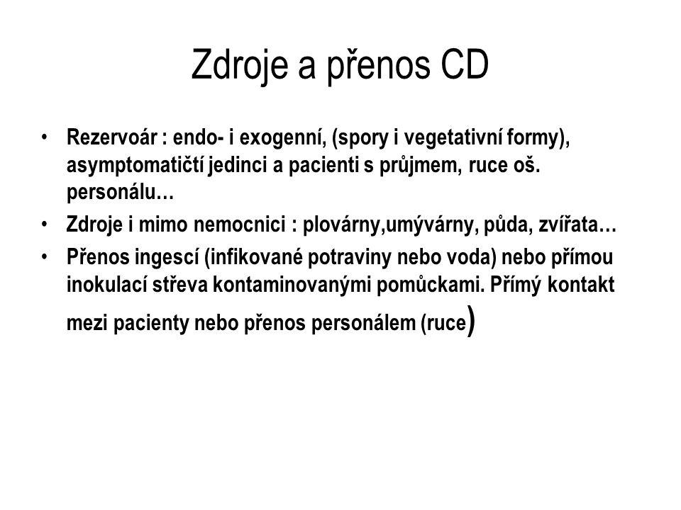 Zdroje a přenos CD Rezervoár : endo- i exogenní, (spory i vegetativní formy), asymptomatičtí jedinci a pacienti s průjmem, ruce oš. personálu… Zdroje