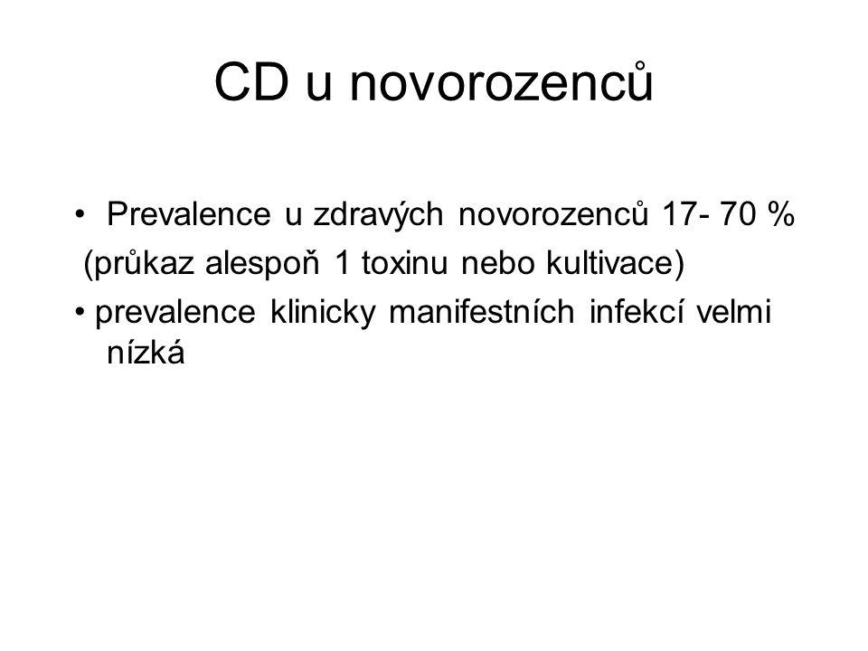 CD u novorozenců Prevalence u zdravých novorozenců 17- 70 % (průkaz alespoň 1 toxinu nebo kultivace) prevalence klinicky manifestních infekcí velmi ní