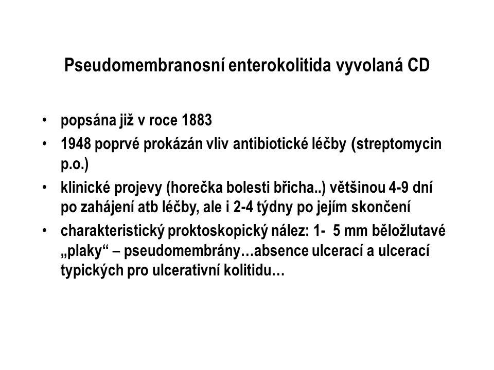 Pseudomembranosní enterokolitida vyvolaná CD popsána již v roce 1883 1948 poprvé prokázán vliv antibiotické léčby ( streptomycin p.o.) klinické projev