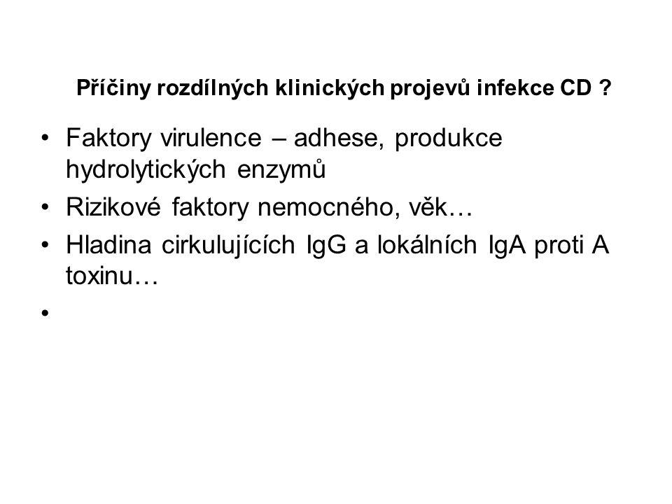 Příčiny rozdílných klinických projevů infekce CD ? Faktory virulence – adhese, produkce hydrolytických enzymů Rizikové faktory nemocného, věk… Hladina