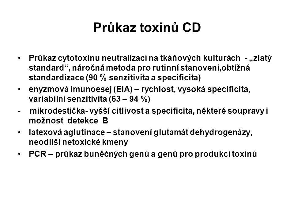 """Průkaz toxinů CD Průkaz cytotoxinu neutralizací na tkáňových kulturách - """"zlatý standard"""", náročná metoda pro rutinní stanovení,obtížná standardizace"""