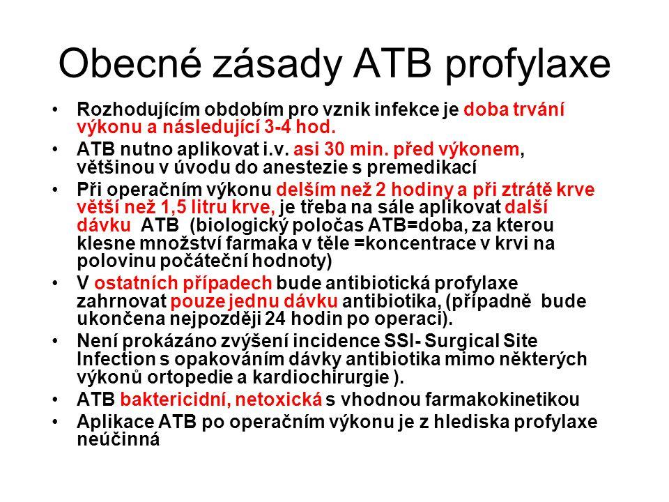 Obecné zásady ATB profylaxe Rozhodujícím obdobím pro vznik infekce je doba trvání výkonu a následující 3-4 hod. ATB nutno aplikovat i.v. asi 30 min. p