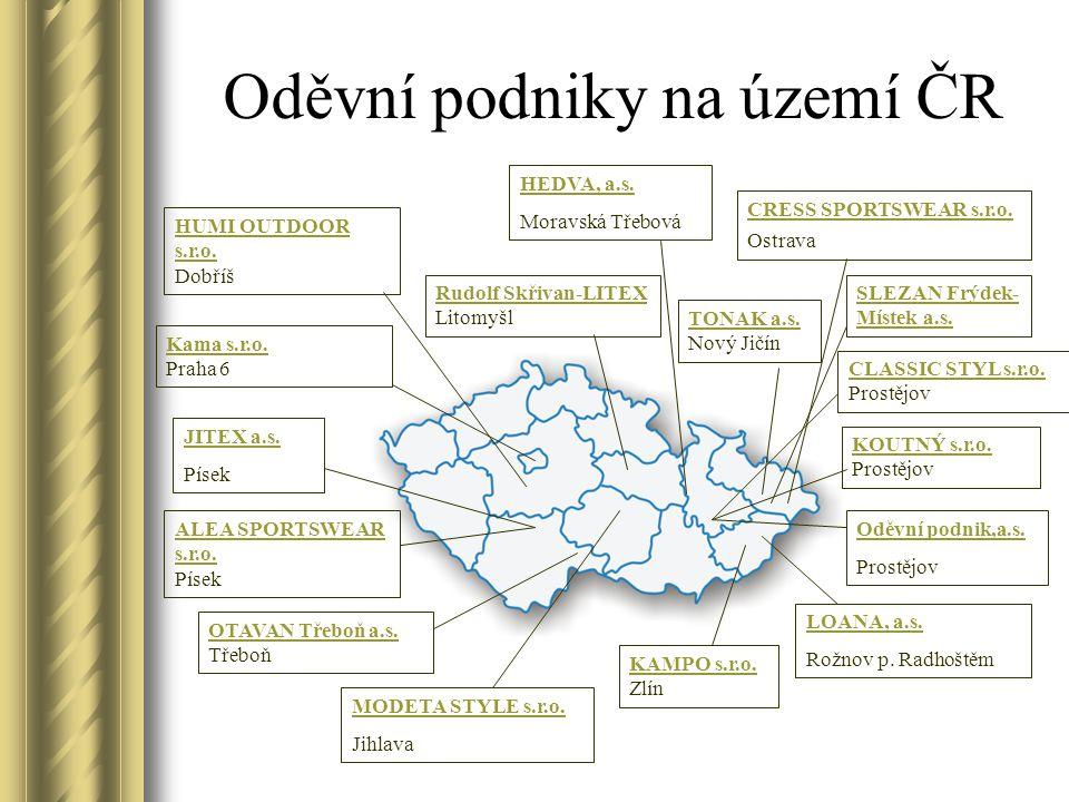 KAMPO s.r.o.KAMPO s.r.o. Zlín Oděvní podniky na území ČR TONAK a.s.