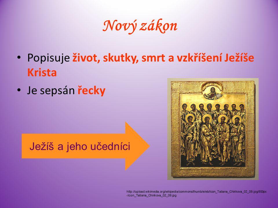 Řídí se jím židé i křesťané Skládá se ze čtyř částí: Tóra (Pentateuch) historické spisy mudroslovné knihy prorocké knihy http://upload.wikimedia.org/wikipedia/commons/thumb/5/56/Tor a_JMW.jpg/800px-Tora_JMW.jpg