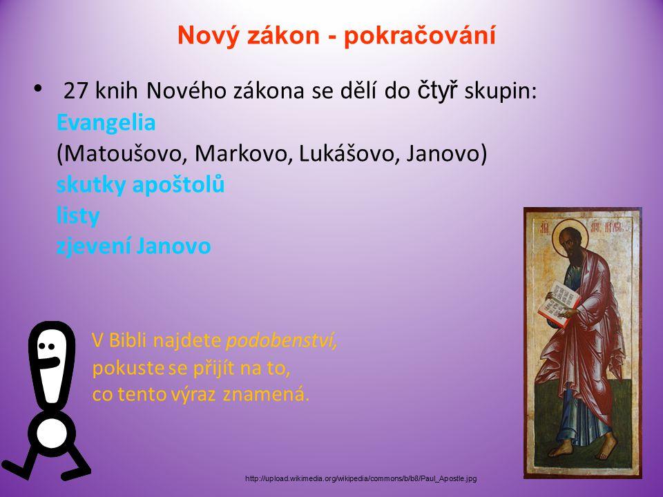 Nový zákon Popisuje život, skutky, smrt a vzkříšení Ježíše Krista Je sepsán řecky Ježíš a jeho učedníci http://upload.wikimedia.org/wikipedia/commons/thumb/e/eb/Icon_Tatiana_Chirikova_02_09.jpg/800px -Icon_Tatiana_Chirikova_02_09.jpg