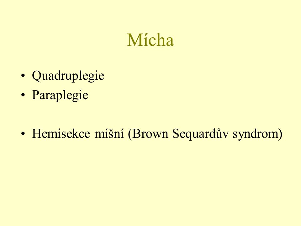 Mícha Quadruplegie Paraplegie Hemisekce míšní (Brown Sequardův syndrom)