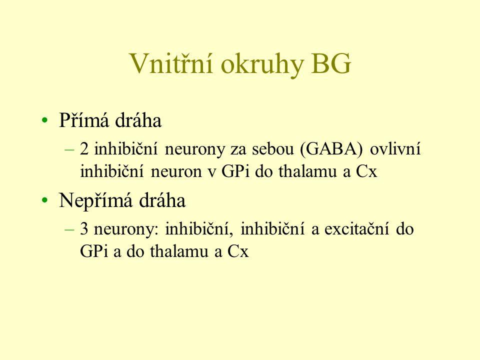 Vnitřní okruhy BG Přímá dráha –2 inhibiční neurony za sebou (GABA) ovlivní inhibiční neuron v GPi do thalamu a Cx Nepřímá dráha –3 neurony: inhibiční,