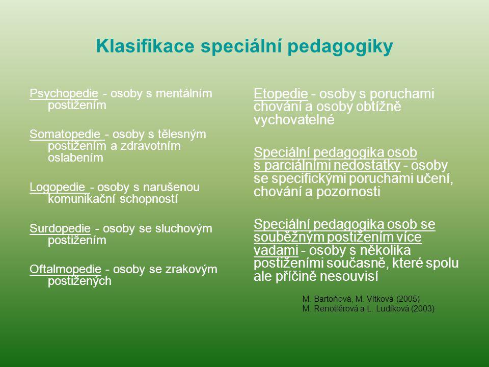 Klasifikace speciální pedagogiky Psychopedie - osoby s mentálním postižením Somatopedie - osoby s tělesným postižením a zdravotním oslabením Logopedie