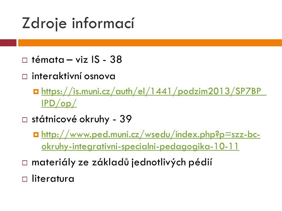 Zdroje informací  témata – viz IS - 38  interaktivní osnova  https://is.muni.cz/auth/el/1441/podzim2013/SP7BP_ IPD/op/ https://is.muni.cz/auth/el/1441/podzim2013/SP7BP_ IPD/op/  státnicové okruhy - 39  http://www.ped.muni.cz/wsedu/index.php?p=szz-bc- okruhy-integrativni-specialni-pedagogika-10-11 http://www.ped.muni.cz/wsedu/index.php?p=szz-bc- okruhy-integrativni-specialni-pedagogika-10-11  materiály ze základů jednotlivých pédií  literatura