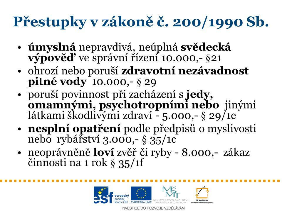 Přestupky v zákoně č.200/1990 Sb.