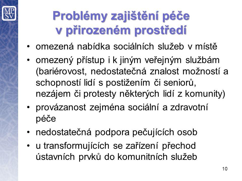 10 Problémy zajištění péče v přirozeném prostředí omezená nabídka sociálních služeb v místě omezený přístup i k jiným veřejným službám (bariérovost, n