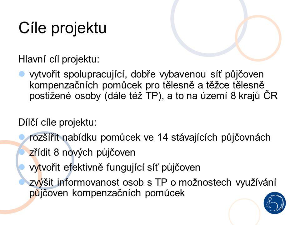 4 Cíle projektu Hlavní cíl projektu: vytvořit spolupracující, dobře vybavenou síť půjčoven kompenzačních pomůcek pro tělesně a těžce tělesně postižené osoby (dále též TP), a to na území 8 krajů ČR Dílčí cíle projektu: rozšířit nabídku pomůcek ve 14 stávajících půjčovnách zřídit 8 nových půjčoven vytvořit efektivně fungující síť půjčoven zvýšit informovanost osob s TP o možnostech využívání půjčoven kompenzačních pomůcek