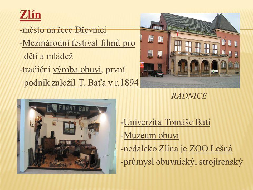 Zlín -město na řece Dřevnici -Mezinárodní festival filmů pro děti a mládež -tradiční výroba obuvi, první podnik založil T.