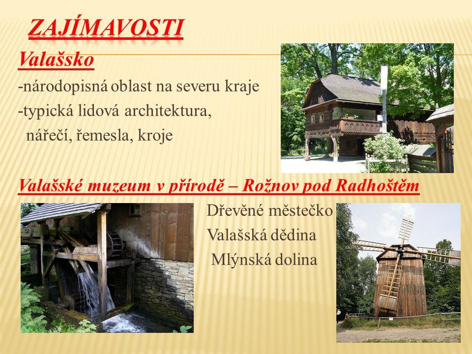 Valašsko -národopisná oblast na severu kraje -typická lidová architektura, nářečí, řemesla, kroje Valašské muzeum v přírodě – Rožnov pod Radhoštěm Dře