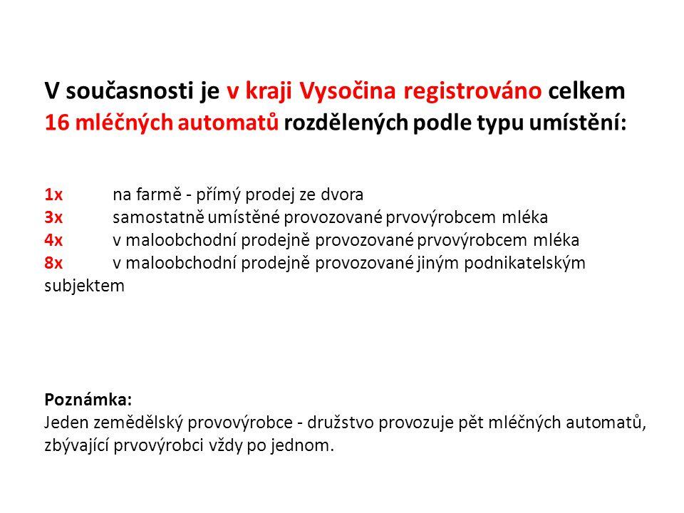 V současnosti je v kraji Vysočina registrováno celkem 16 mléčných automatů rozdělených podle typu umístění: 1xna farmě - přímý prodej ze dvora 3x samo