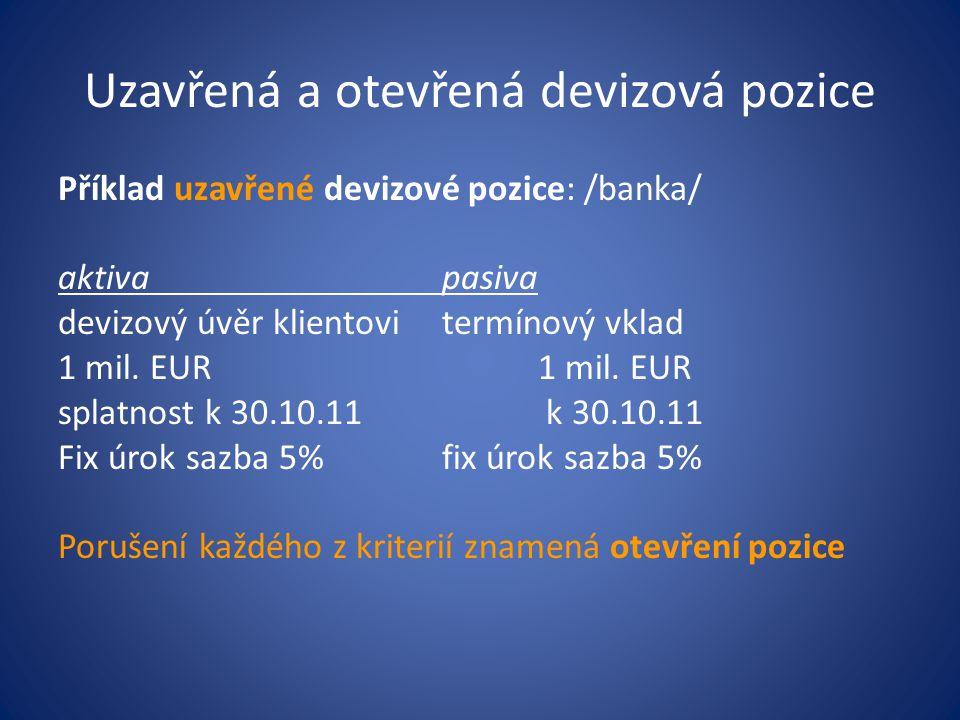Metoda Value at Risk R D =V F *(1+a)*var(dSR)*k*T kde: RD – doporučovaná výše rezerv v domácí měně V F - devizová hodnota zahraničních aktiv nebo pasiv (1+a) – transakční devizová expozice z modelu % změn var(dSR) – jednodenní směrodatná odchylka /na bázi absolutních změn SR k – koef.