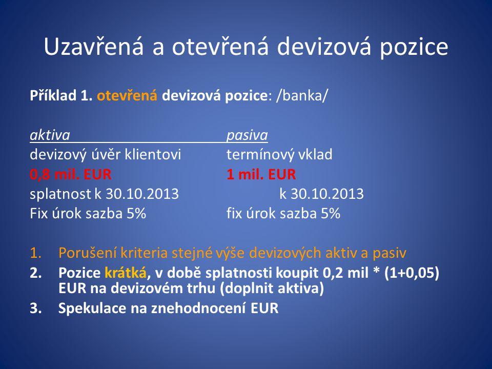 (IR CZK,D – IR EUR,L ) * t /360 SWAP RATE BID = ----------------------------------- * SR MID (1 + IR EUR,L ) * t /360 klient devizu promptně nakupuje a termínově prodává zpět/bance/ (IR CZK,L – IR EUR,D ) * t /360 SWAP RATE ASK = ----------------------------------- * SR MID (1 + IR EUR,D ) * t /360 klient devizu prodává promptně a nakupuje zpět termínově kde SR MID je spotový kurs střed Kotace swapových sazeb