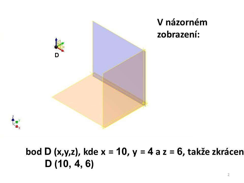 D bod D (x,y,z), kde x = 10, y = 4 a z = 6, takže zkráceně D ( 10, 4, 6 ) 2 V názorném zobrazení: