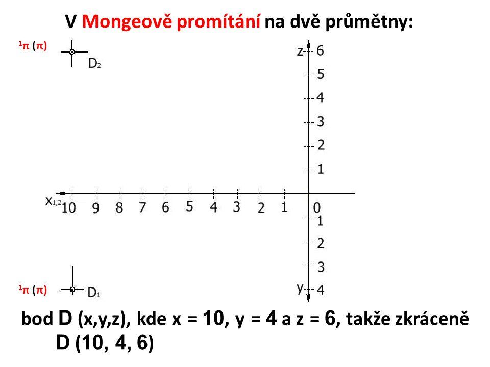 V Mongeově promítání na dvě průmětny: bod D (x,y,z), kde x = 10, y = 4 a z = 6, takže zkráceně D ( 10, 4, 6 ) 1 π (π)