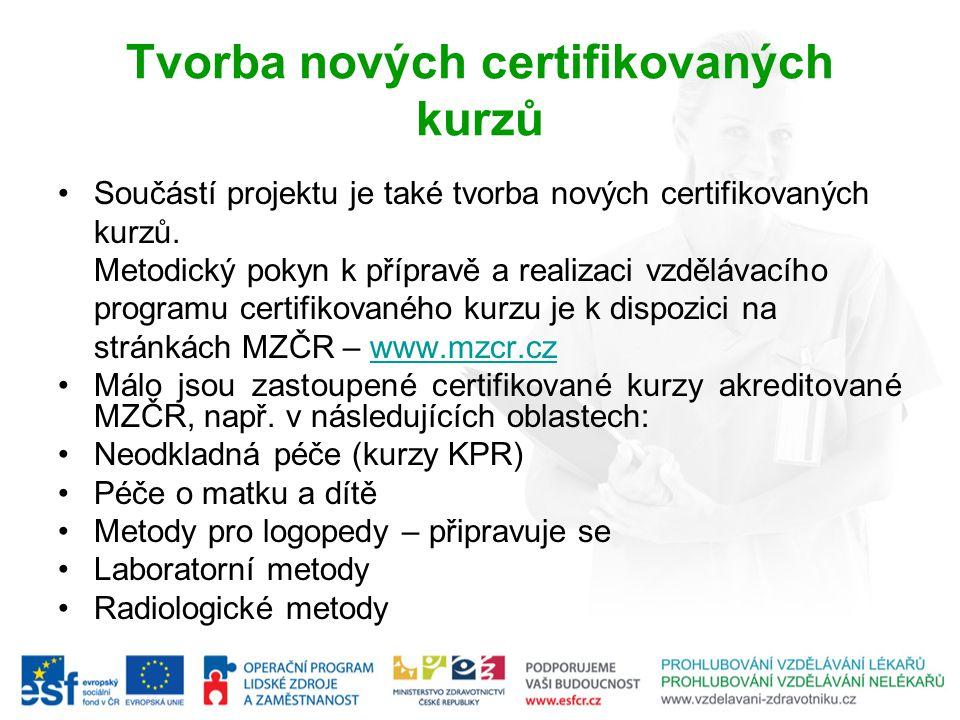 Tvorba nových certifikovaných kurzů Součástí projektu je také tvorba nových certifikovaných kurzů.