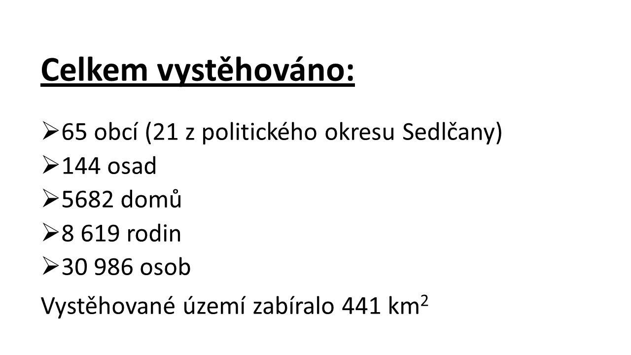Celkem vystěhováno:  65 obcí (21 z politického okresu Sedlčany)  144 osad  5682 domů  8 619 rodin  30 986 osob Vystěhované území zabíralo 441 km 2