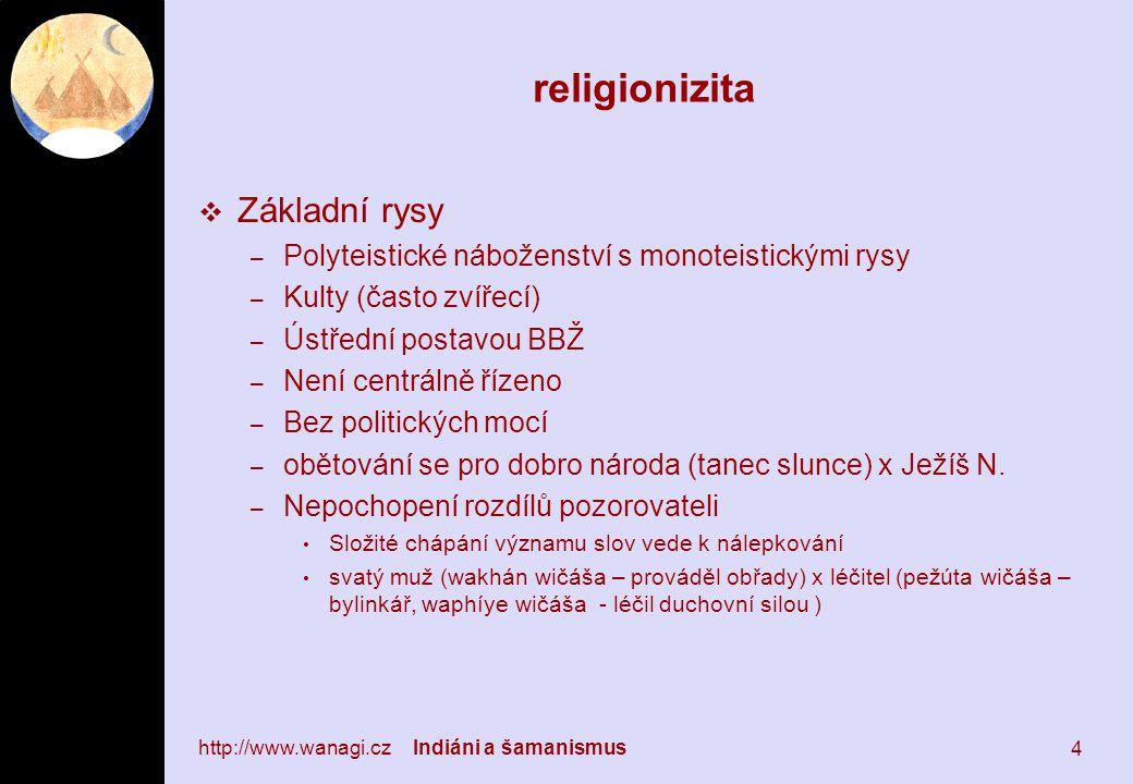 religionizita  Základní rysy – Polyteistické náboženství s monoteistickými rysy – Kulty (často zvířecí) – Ústřední postavou BBŽ – Není centrálně řízeno – Bez politických mocí – obětování se pro dobro národa (tanec slunce) x Ježíš N.