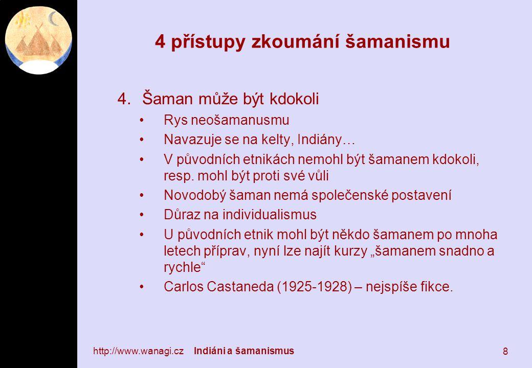 4 přístupy zkoumání šamanismu 4.Šaman může být kdokoli Rys neošamanusmu Navazuje se na kelty, Indiány… V původních etnikách nemohl být šamanem kdokoli, resp.