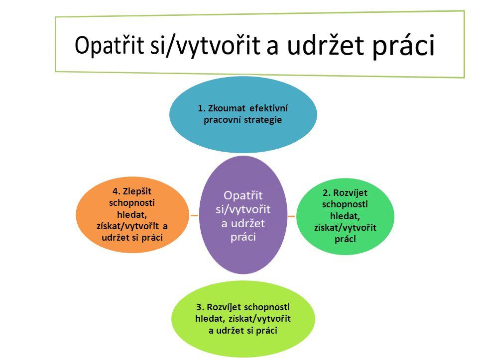 1. Zkoumat efektivní pracovní strategie 2. Rozvíjet schopnosti hledat, získat/vytvořit práci 3. Rozvíjet schopnosti hledat, získat/vytvořit a udržet s