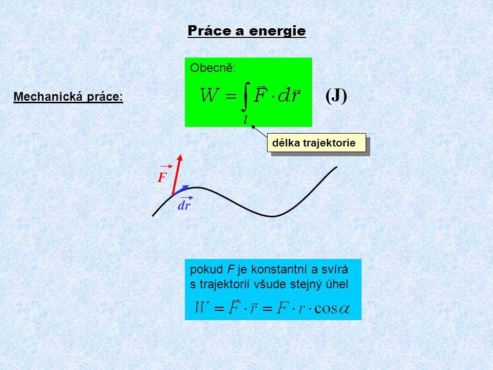 Práce a energie Mechanická práce: Obecně: pokud F je konstantní a svírá s trajektorií všude stejný úhel F dr délka trajektorie (J)