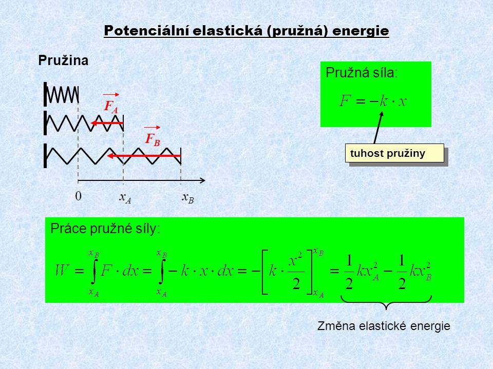 Práce pružné síly: Potenciální elastická (pružná) energie Pružina 0 x A x B Pružná síla: Změna elastické energie FAFA FBFB tuhost pružiny