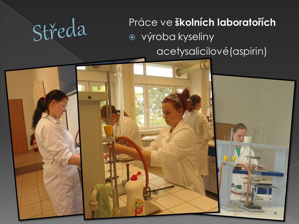 Práce ve školních laboratořích  výroba kyseliny acetysalicilové(aspirin)