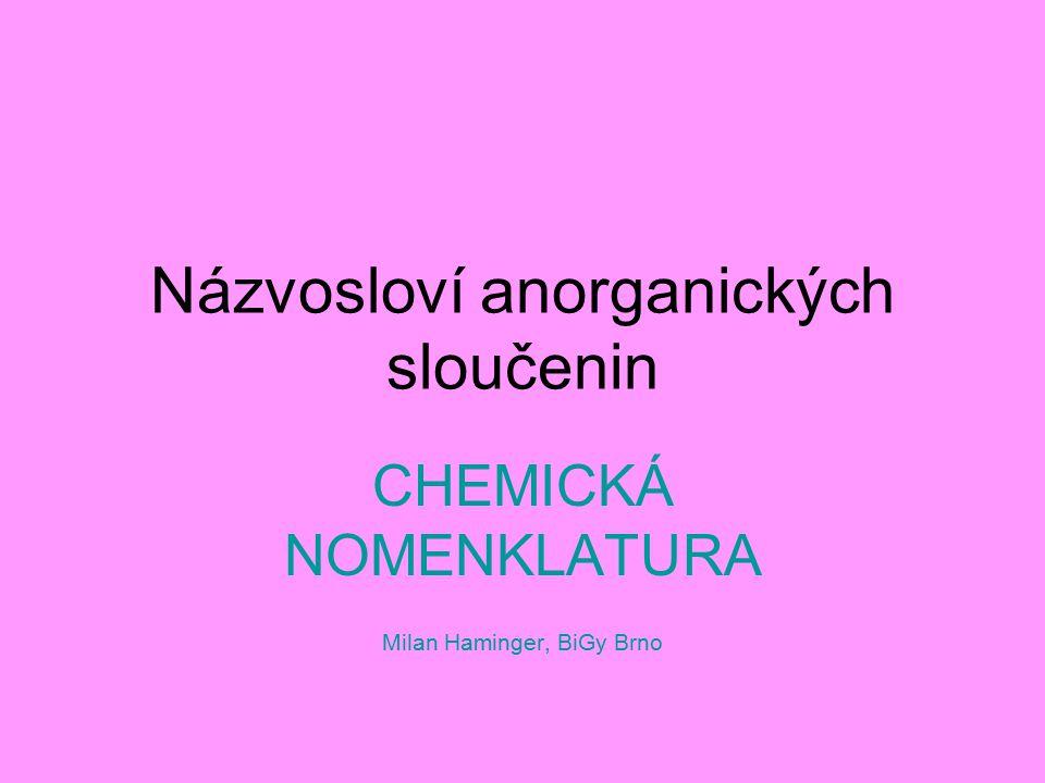 Názvosloví anorganických sloučenin CHEMICKÁ NOMENKLATURA Milan Haminger, BiGy Brno