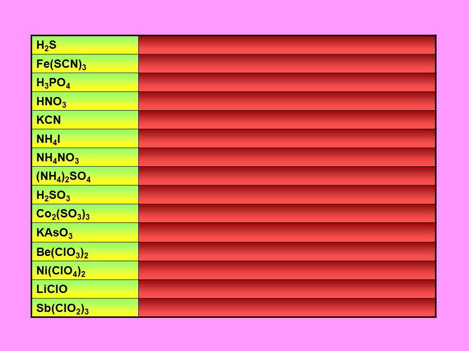 H2SH2S Fe(SCN) 3 H 3 PO 4 HNO 3 KCN NH 4 I NH 4 NO 3 (NH 4 ) 2 SO 4 H 2 SO 3 Co 2 (SO 3 ) 3 KAsO 3 Be(ClO 3 ) 2 Ni(ClO 4 ) 2 LiClO Sb(ClO 2 ) 3
