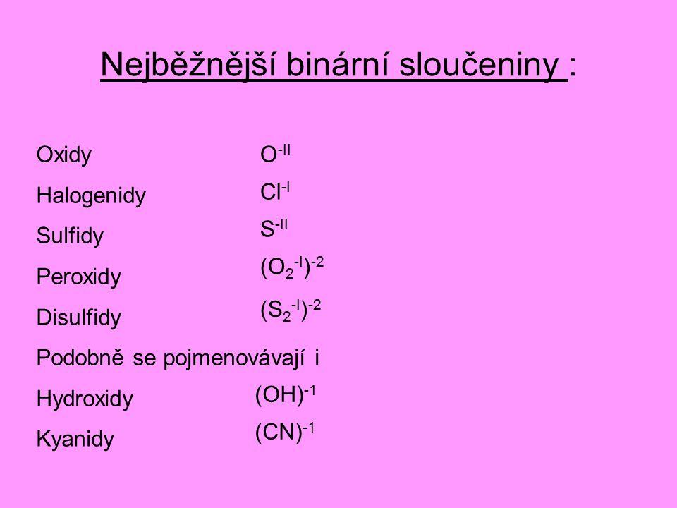 Nejběžnější binární sloučeniny : Oxidy Halogenidy Sulfidy Peroxidy Disulfidy Podobně se pojmenovávají i Hydroxidy Kyanidy O -II Cl -I S -II (O 2 -I ) -2 (S 2 -I ) -2 (OH) -1 (CN) -1