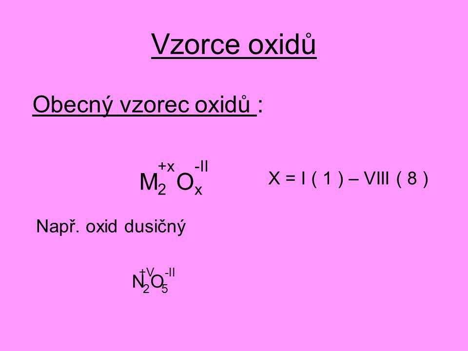 Vzorce oxidů Obecný vzorec oxidů : M 2 O x X = I ( 1 ) – VIII ( 8 ) +x-II Např.