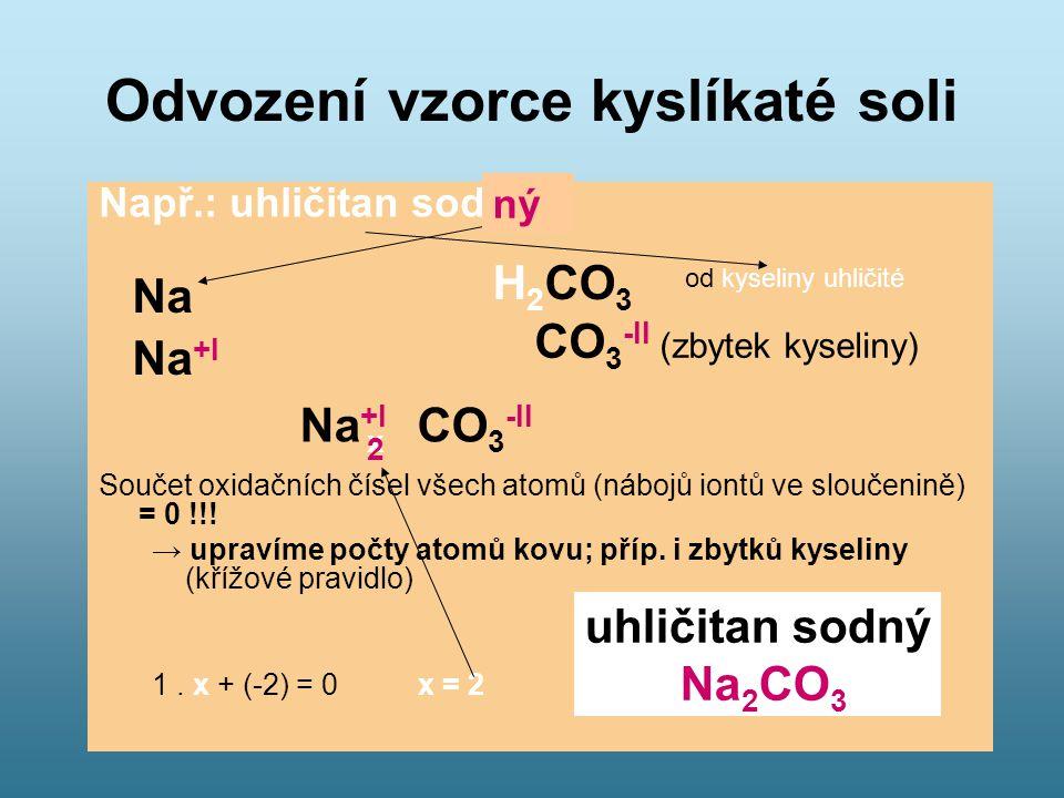 Odvození vzorce kyslíkaté soli Např.: uhličitan sodný Součet oxidačních čísel všech atomů (nábojů iontů ve sloučenině) = 0 !!! → upravíme počty atomů