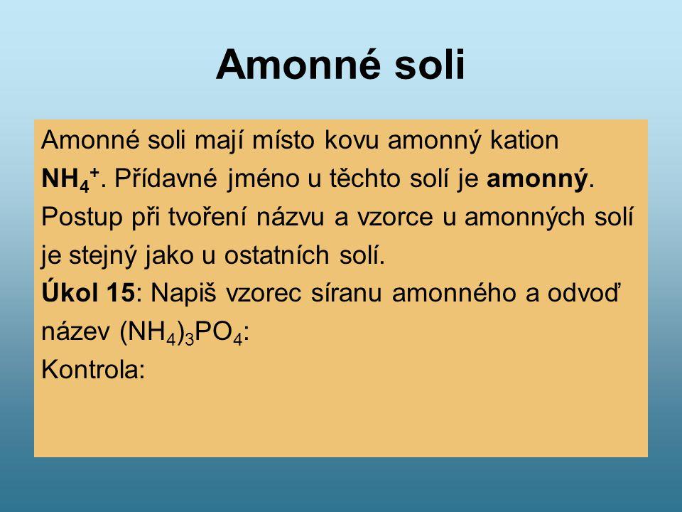 Amonné soli Amonné soli mají místo kovu amonný kation NH 4 +. Přídavné jméno u těchto solí je amonný. Postup při tvoření názvu a vzorce u amonných sol