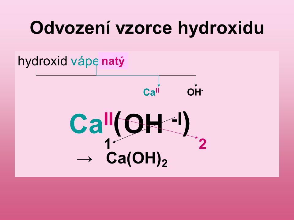Úkol 2: Napiš vzorce hydroxidů: Hydroxid draselný Hydroxid železitý Hydroxid měďnatý Hydroxid cíničitý Hydroxid sodný Hydroxid hlinitý Hydroxid stříbrný Kontrola: KOH Fe(OH) 3 Cu(OH) 2 Sn(OH) 4 NaOH Al(OH) 3 AgOH