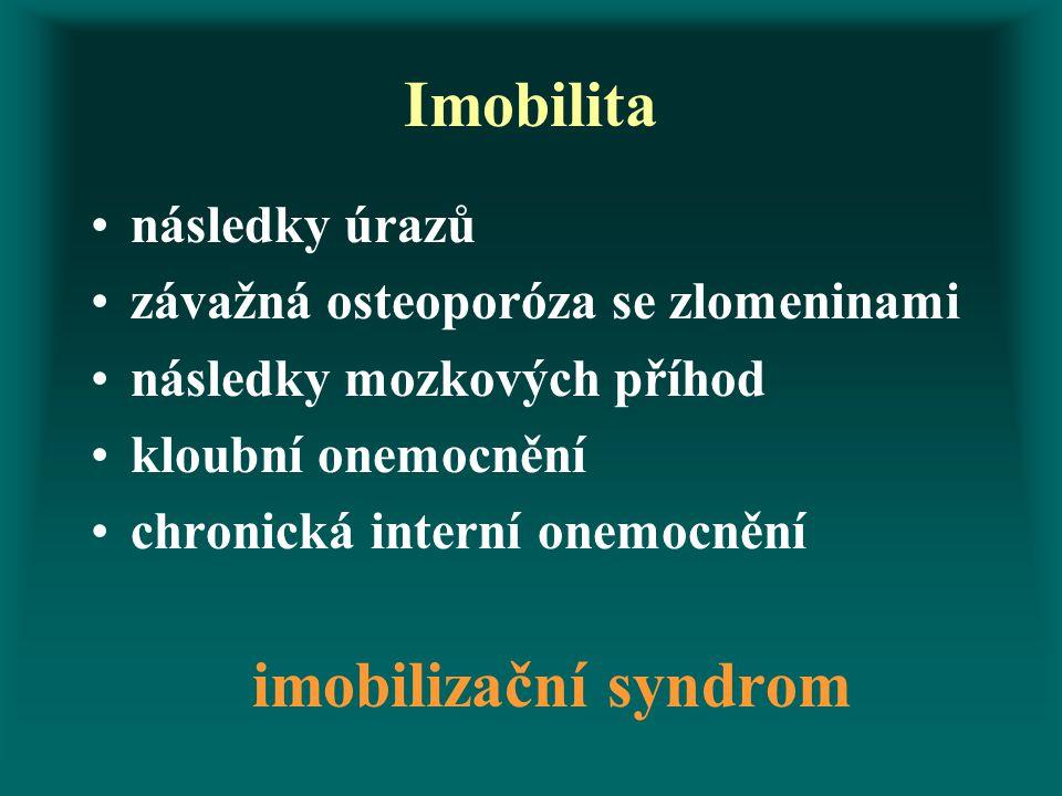 Imobilita následky úrazů závažná osteoporóza se zlomeninami následky mozkových příhod kloubní onemocnění chronická interní onemocnění imobilizační syn